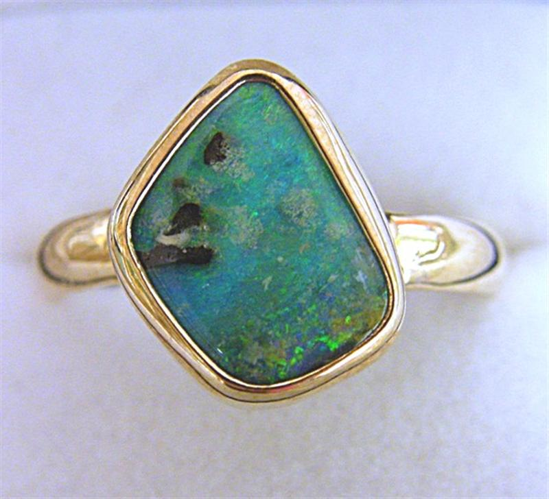 9ct Gold Ring with Solid Australian Boulder Opal FG832 Opal